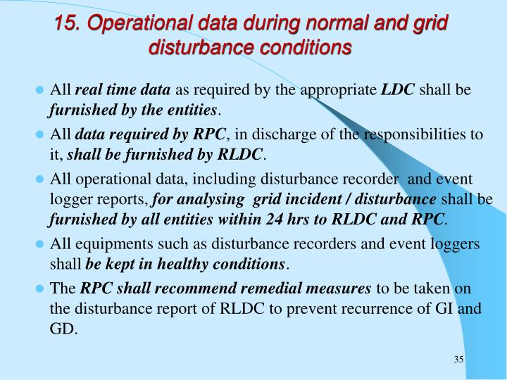 15. Operational data during normal and grid disturbance conditions