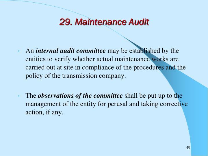29. Maintenance Audit