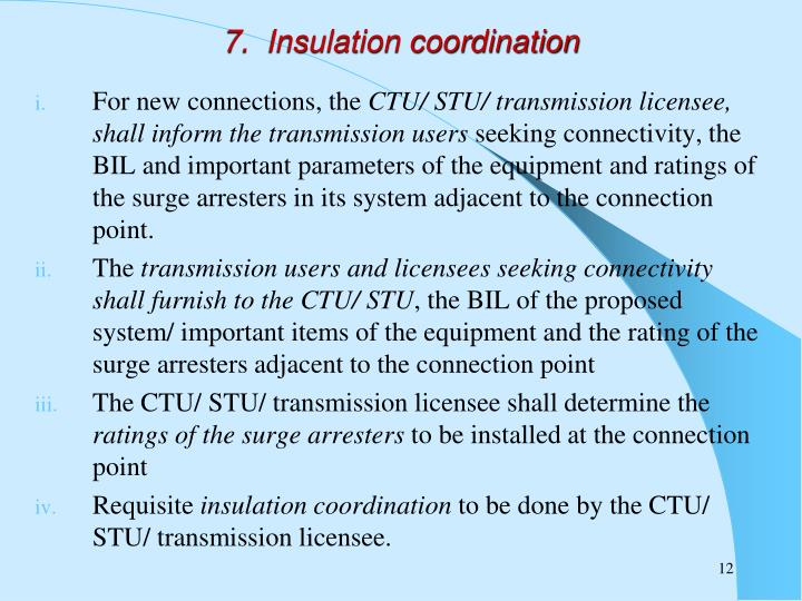 7.  Insulation coordination