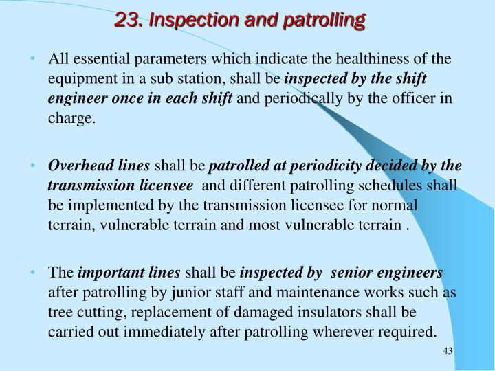 23. Inspection and patrolling