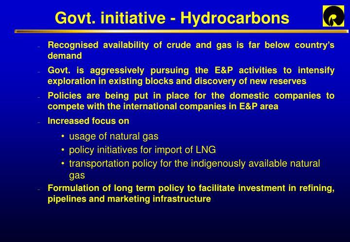 Govt. initiative - Hydrocarbons