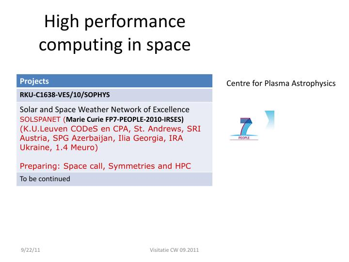 High performance computing in space