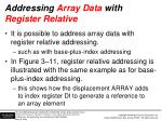 addressing array data with register relative