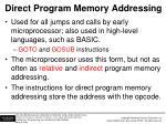direct program memory addressing