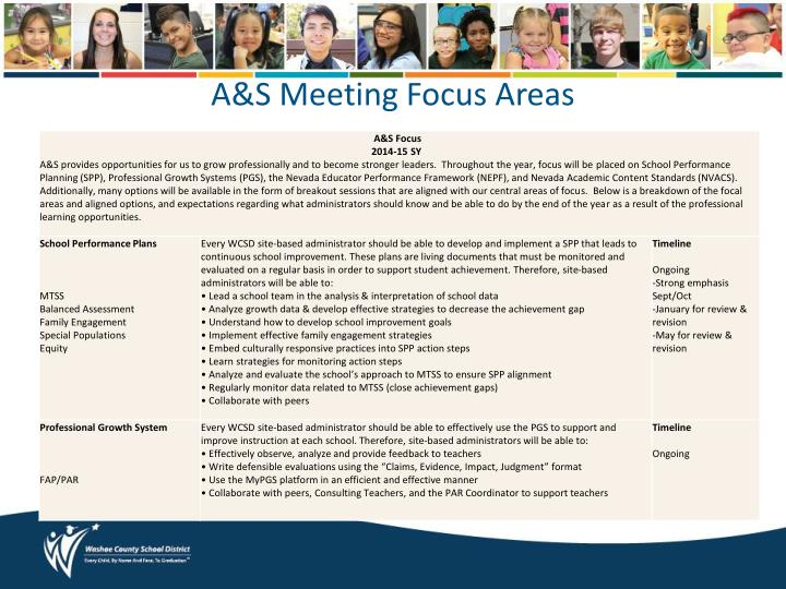 A s meeting focus areas