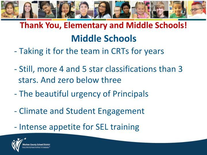 Thank You, Elementary and Middle Schools!
