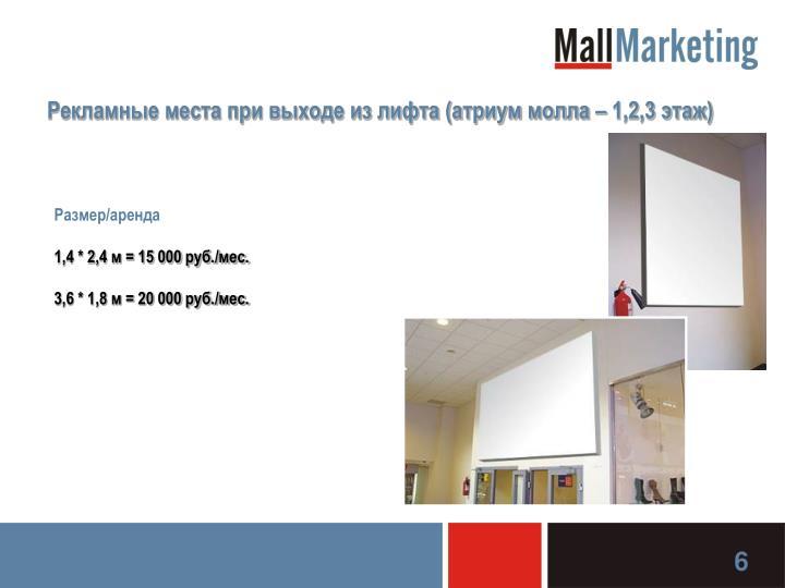 Рекламные места при выходе из лифта (атриум молла – 1,2,3 этаж)