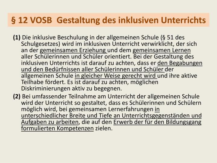 § 12 VOSB Gestaltung des inklusiven Unterrichts