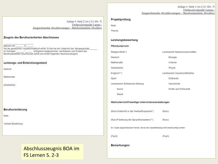 Abschlusszeugnis BOA im FS Lernen S. 2-3