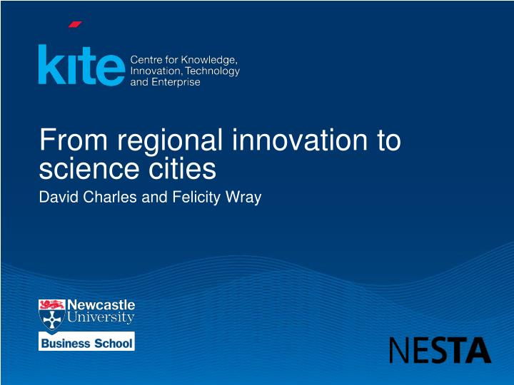 from regional innovation to science cities n.