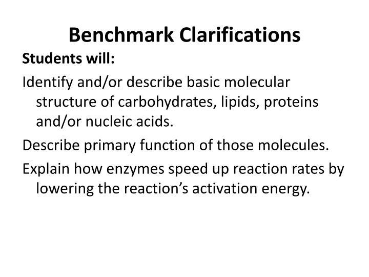 Benchmark clarifications