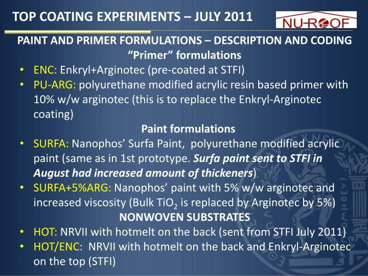 TOP COATING EXPERIMENTS – JULY 2011