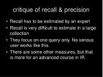 critique of recall precision