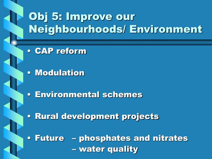 Obj 5: Improve our Neighbourhoods/ Environment