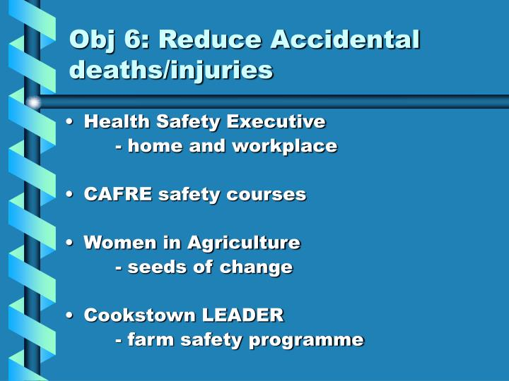 Obj 6: Reduce Accidental deaths/injuries