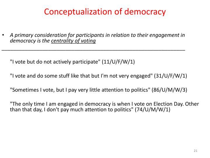 Conceptualization of democracy