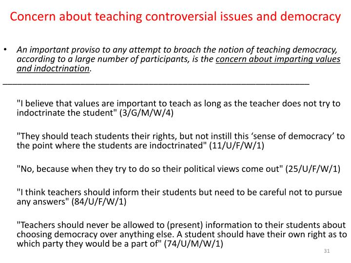 Concern about teaching controversial issues and democracy
