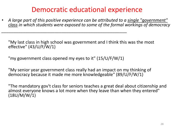 Democratic educational experience