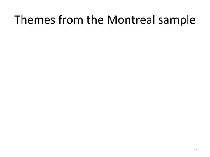 Themes from the Montreal sample