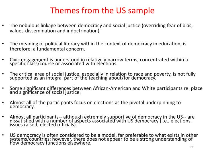 Themes from the US sample