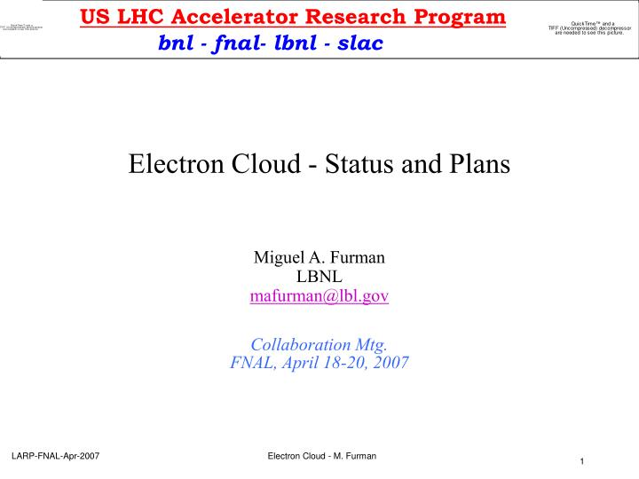 electron cloud status and plans n.