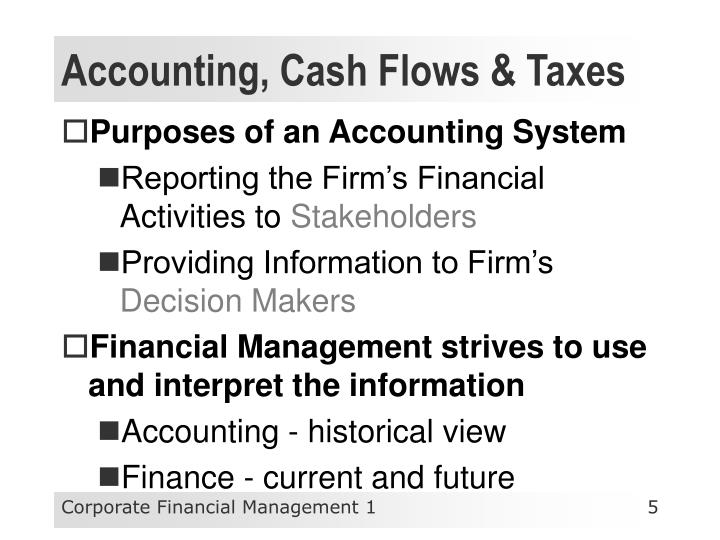 Accounting, Cash Flows & Taxes
