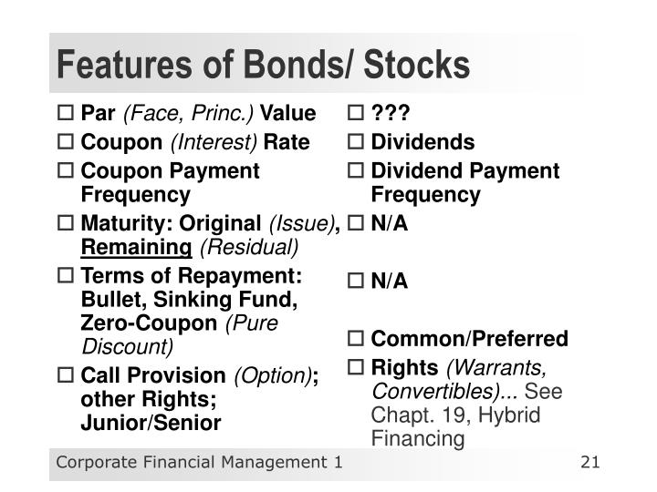 Features of Bonds