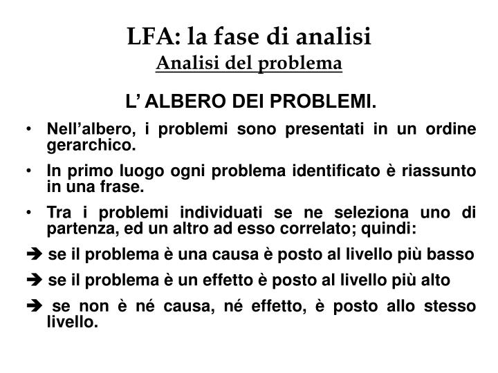 LFA: la fase di analisi