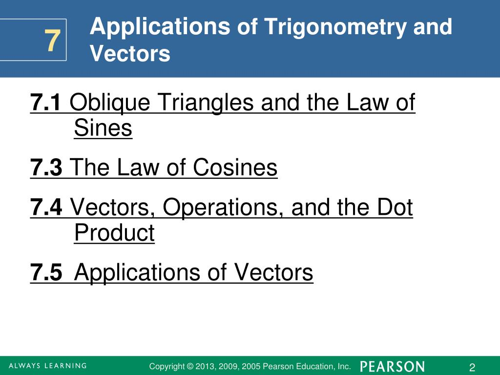 PPT - Applications of Trigonometry and Vectors PowerPoint