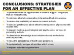 conclusions strategies for an effective plan