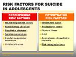 risk factors for suicide in adolescents