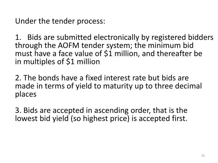 Under the tender process:
