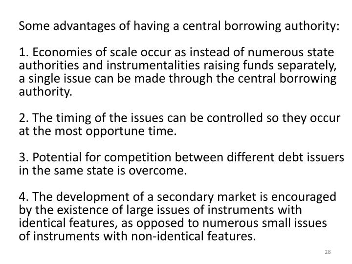 Some advantages of having a central borrowing authority