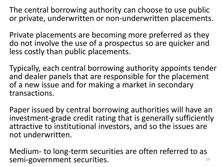 The central borrowing authority can choose to use public