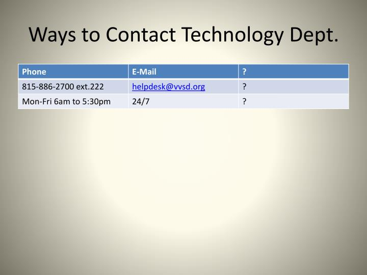 Ways to contact technology dept