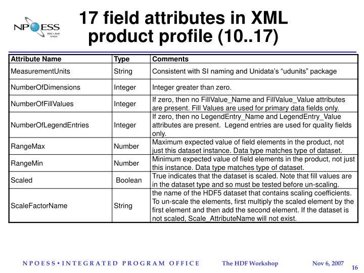 17 field attributes in XML product profile (10..17)