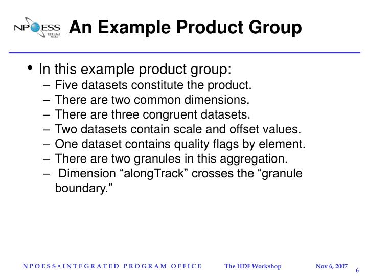 An Example Product Group