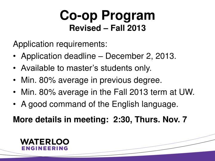 Co-op Program
