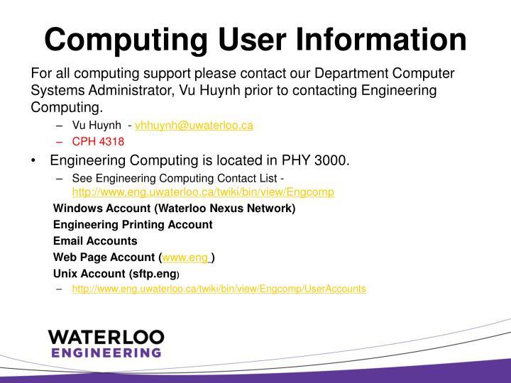 Computing User Information
