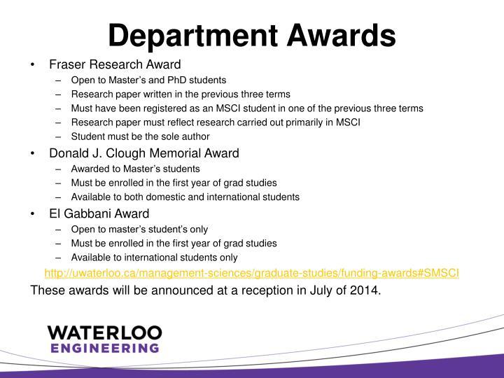 Department Awards