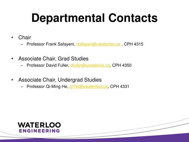 Departmental contacts