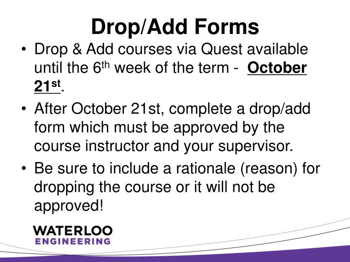 Drop/Add Forms
