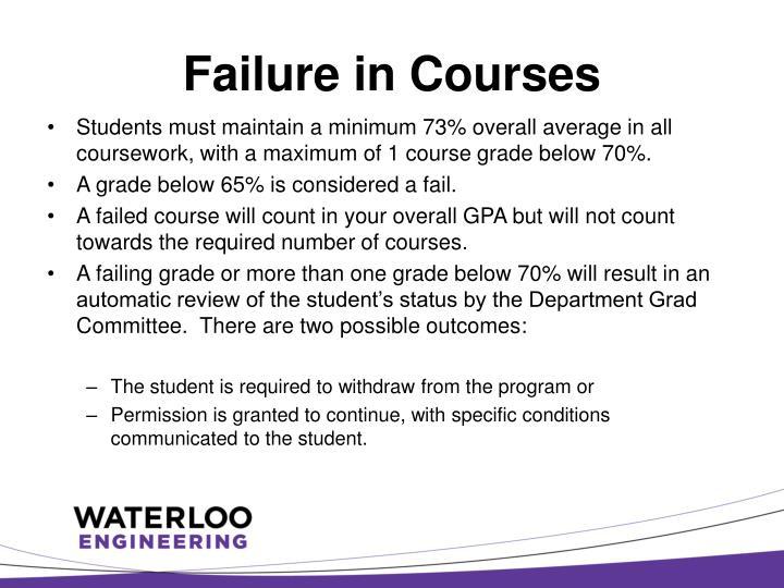 Failure in Courses
