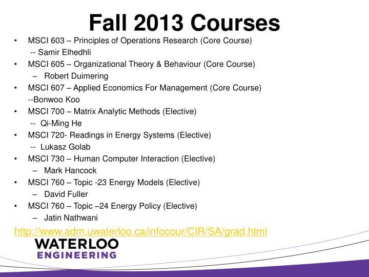 Fall 2013 Courses