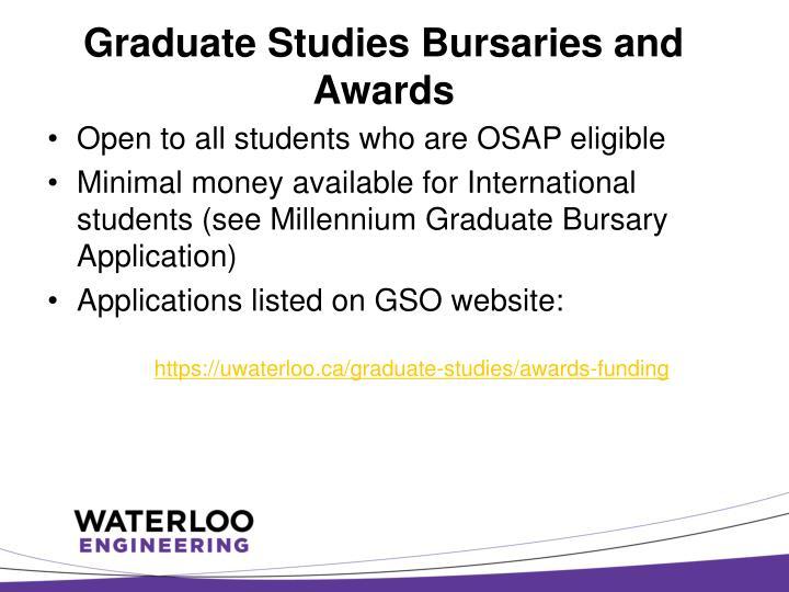 Graduate Studies Bursaries and Awards