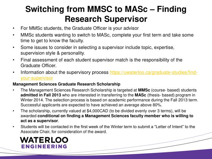 Switching from MMSC to MASc – Finding  Research Supervisor