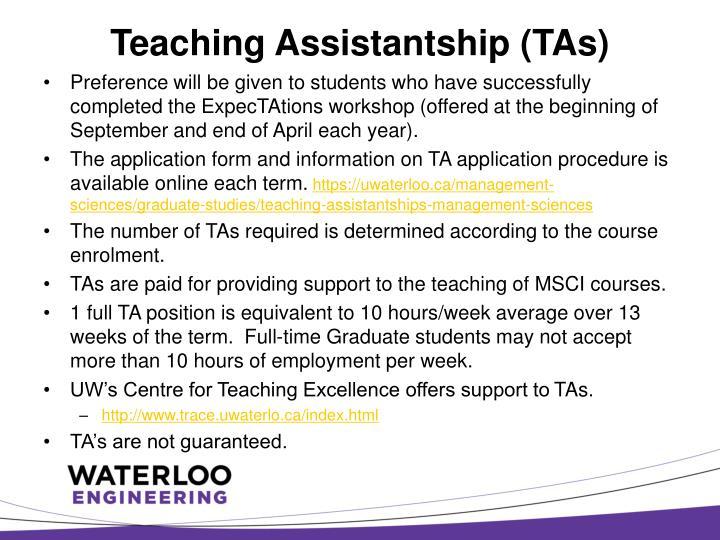 Teaching Assistantship (TAs)