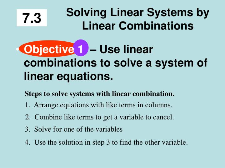solving linear systems by linear combinations n.