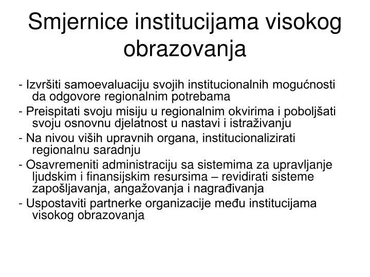 Smjernice institucijama visokog obrazovanja