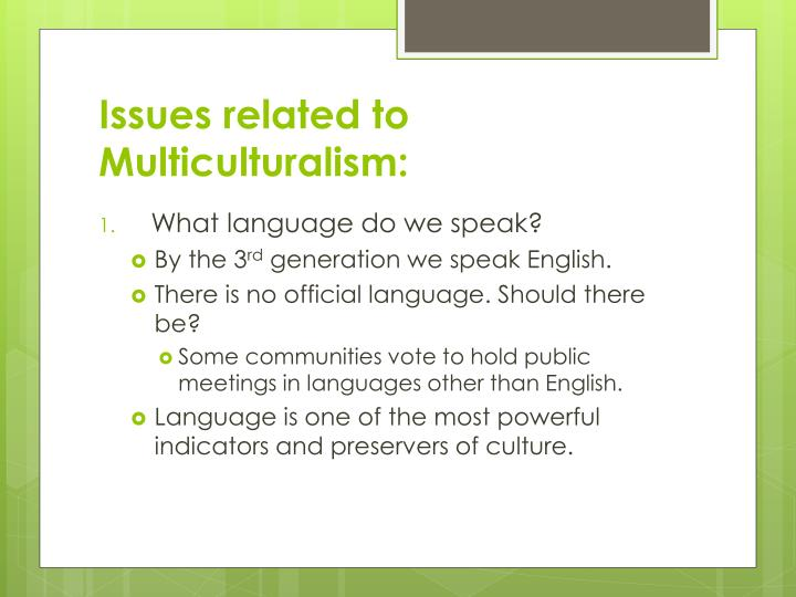 Issues related to Multiculturalism: